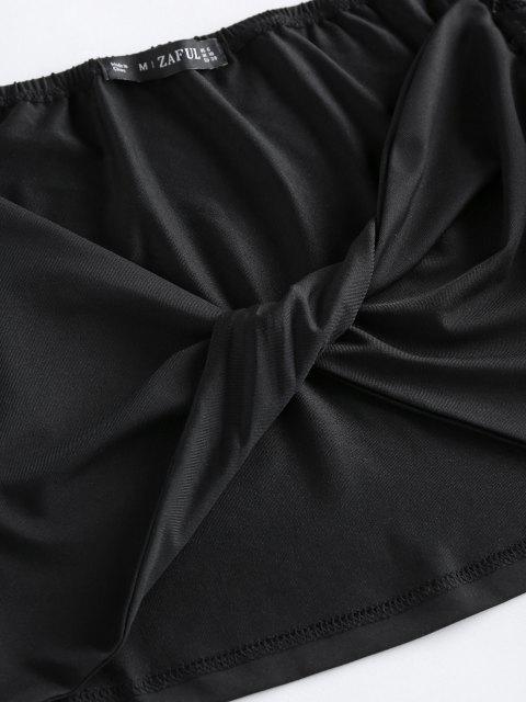 best ZAFUL Lace Sleeve Twist Cropped Blouse - BLACK L Mobile