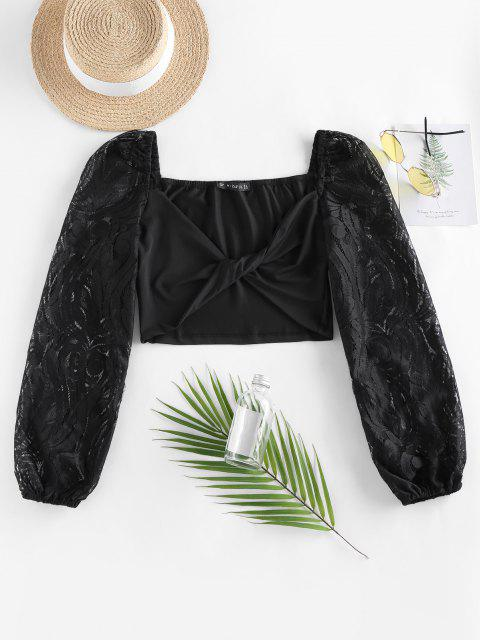 sale ZAFUL Lace Sleeve Twist Cropped Blouse - BLACK XL Mobile
