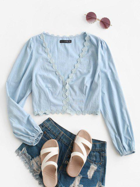affordable ZAFUL Floral Applique Hook and Eye Plunge Blouse - LIGHT BLUE S Mobile