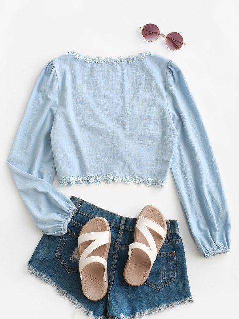 ZAFUL Blusa de Gancho com Aplicação Floral e Olho - Azul claro S Mobile