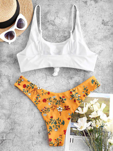 affordable ZAFUL Floral Knot High Leg Bikini Swimwear - YELLOW S Mobile