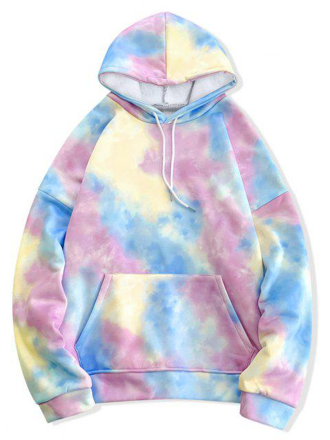 affordable Tie Dye Pullover Fleece Drawstring Hoodie - MULTI-C XL Mobile
