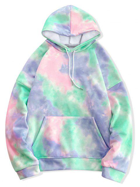 women Tie Dye Pullover Fleece Drawstring Hoodie - MULTI-D M Mobile