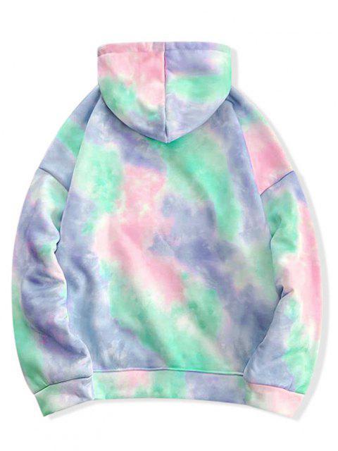 ladies Tie Dye Pullover Fleece Drawstring Hoodie - MULTI-D XL Mobile