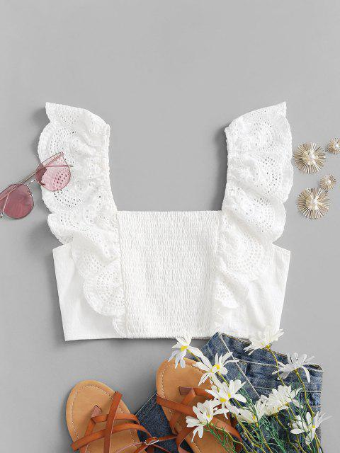 best ZAFUL Ruffled Smocked Eyelet Crop Blouse - WHITE L Mobile