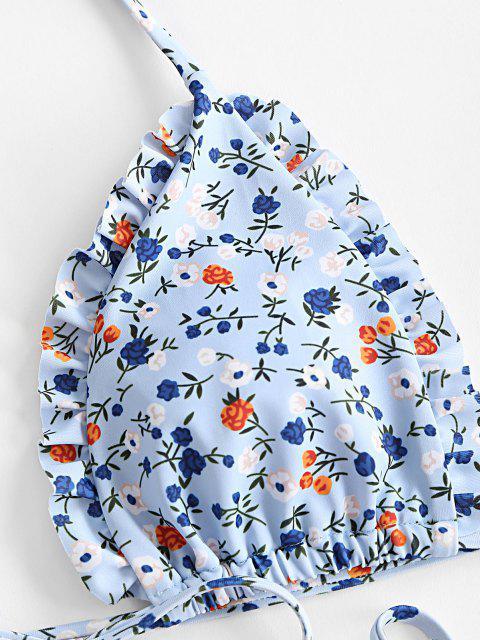 womens ZAFUL Ditsy Floral Lettuce Trim String Bikini Swimwear - LIGHT BLUE M Mobile