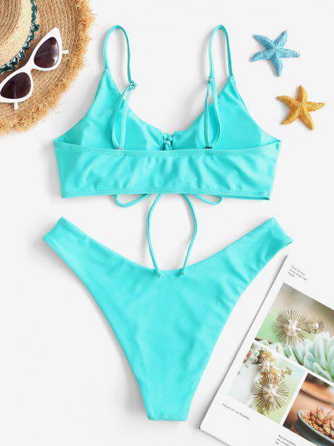 ZAFUL Maillot de Bain Bikini en Couleur Unie à Coupe Haute à Lacets - Bleu clair S Mobile