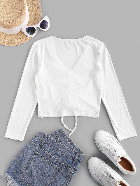 T-Shirt Corta a Costine con Inserti in Pizzo di ZAFUL - Bianca XL Mobile