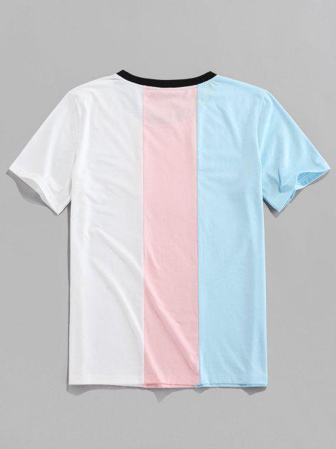 fashion ZAFUL Letter Print Contrast Slogan T-shirt - LIGHT BLUE M Mobile