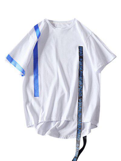 Camiseta De Rayas Con Letras De Cinta De Color Bloque - Blanco L