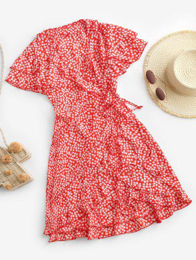 Ditsy Floral Ruffles Layered Sleeve Wrap Dress - Red L