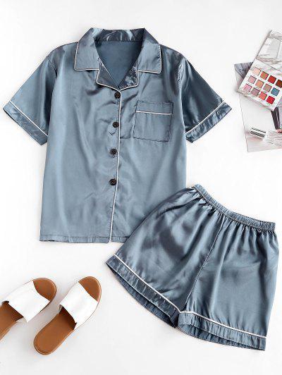 Kurzes Kreuzgestricktes Tasche Pyjama Set Mit Ein Stück - Blau L