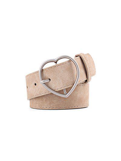 Heart Pattern Buckle PU Belt - Beige