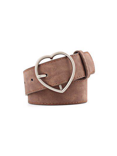 Heart Pattern Buckle PU Belt - Brown
