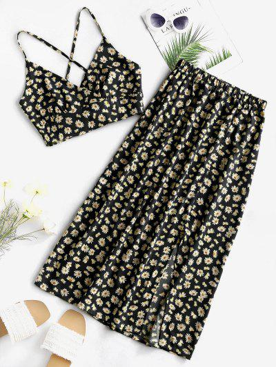 Daisy Print Tie Back Slit Two Piece Dress - Black Xl