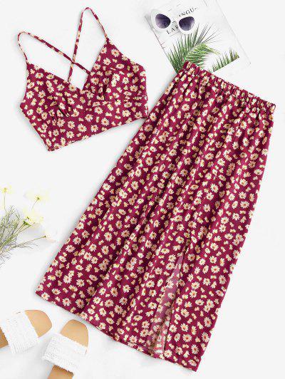 Daisy Print Tie Back Slit Two Piece Dress - Deep Red M