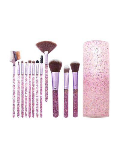 12 Pcs Soft Hair Glitter Makeup Brush Set With Box - Schwein Rosa