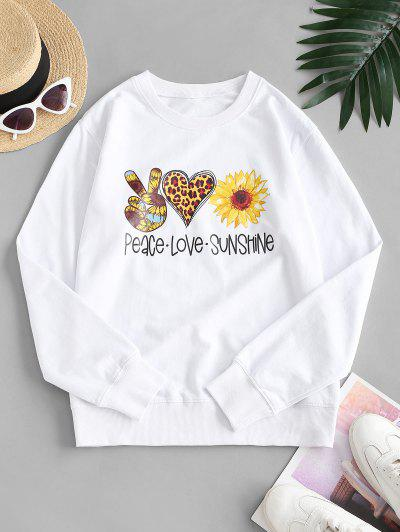 French Terry Sunflower Heart Gesture Graphic Sweatshirt - White M