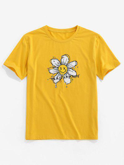 ZAFUL T-shirt De Base Fleur Imprimée - Jaune 2xl