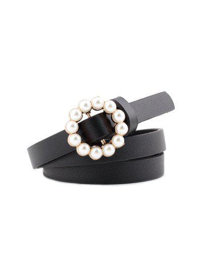 Faux Pearl Buckle Decorative Waist Belt - Preto