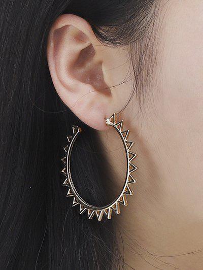 Geometric Sun Shape Hoop Earrings - Golden