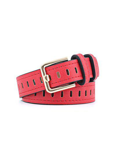 Alloy Buckle PU Leather Belt - Red