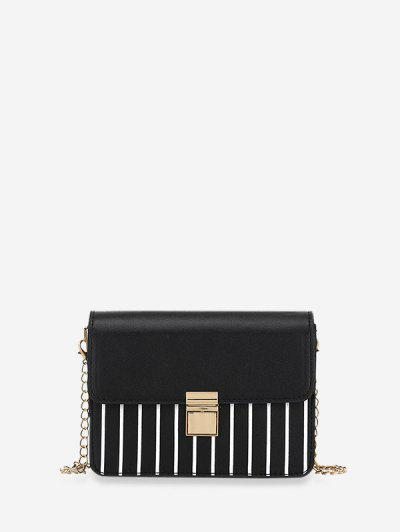 Striped Print Rectangle Chain Bag - Black