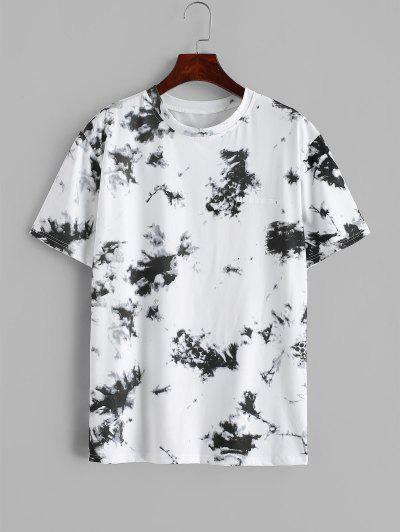 T-shirt Lettre Teinté Imprimé à Manches Courtes - Blanc L