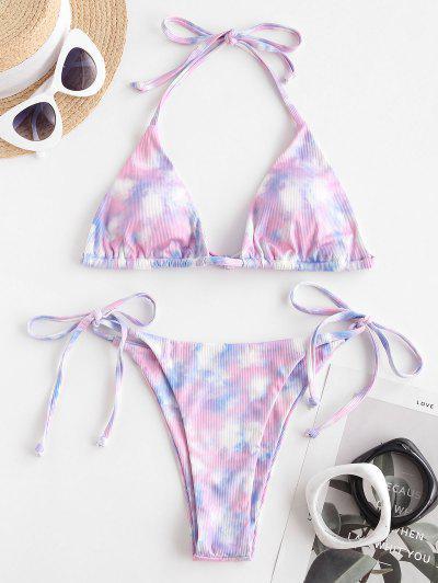 ZAFUL Sweet Catcher Tie Dye Ribbed Bikini Swimwear - Light Purple S