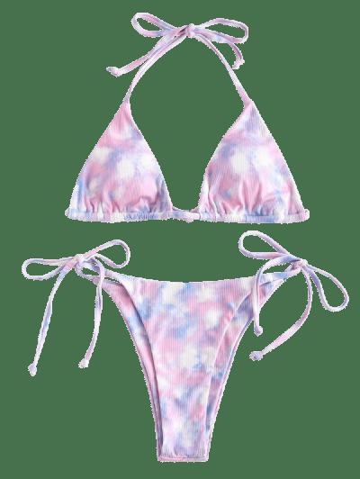 ZAFUL Sweet Catcher Tie Dye Ribbed Bikini Swimwear