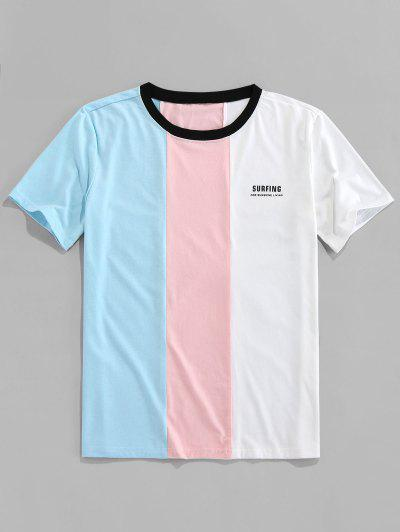 ZAFULレタープリントコントラストスローガンTシャツ - ライトブルー S