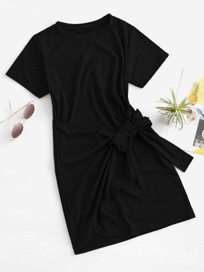 Overlap Tie Short Sleeve Tee Dress - Black S