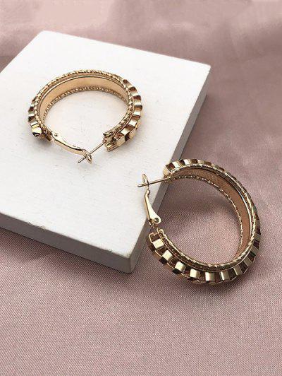 Geometric Alloy Hoop Earrings - Golden
