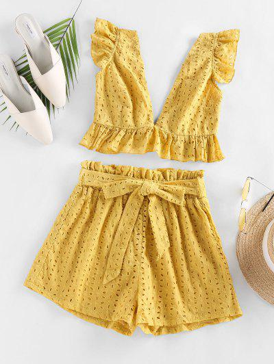 ZAFUL Eyelet Ruffle Plunging Belted Shorts Set - Bright Yellow M