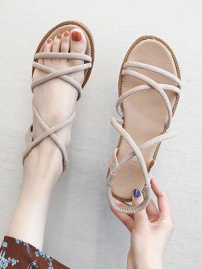 Criss-cross Suede Summer Sandals - Beige Eu 40