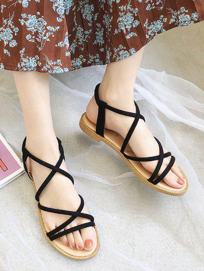 Criss-cross Suede Summer Sandals - Black Eu 40