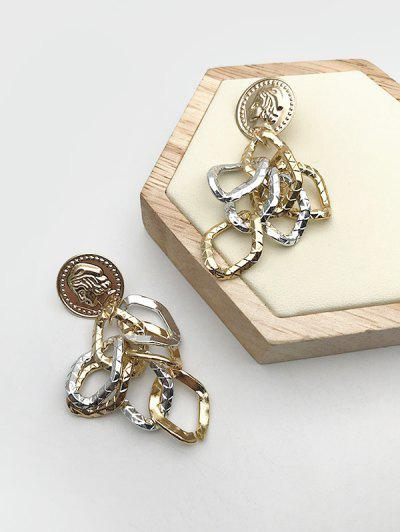 Embossed People Circle Drop Earrings - Golden