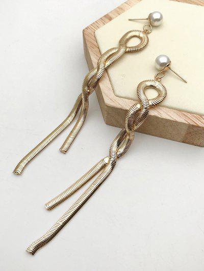 Pendientes De Perlas Artificiales Con Cadena Larga - Dorado