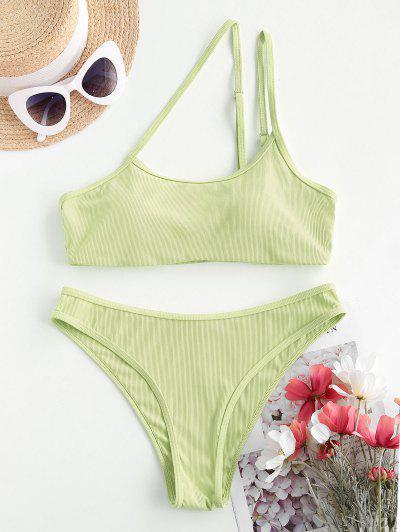 ZAFUL Asymmetric To Chicness Ribbed Bikini Swimwear - Light Green L