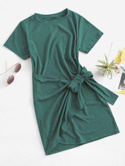 Overlap Tie Short Sleeve Tee Dress - Light Green M