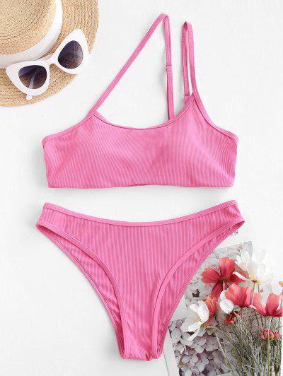 ZAFUL Asymmetric To Chicness Ribbed Bikini Swimwear - Light Pink L
