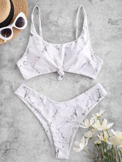 ZAFUL Marble Print Knot High Leg Bikini Swimwear - White M