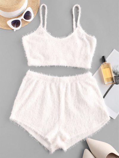 ZAFUL Plain Plush Shorts Set - Milk White S