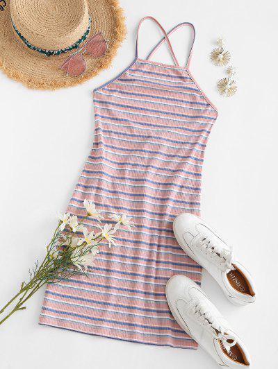 ZAFUL Open Back Lace-up Striped Sheath Dress - Light Pink L