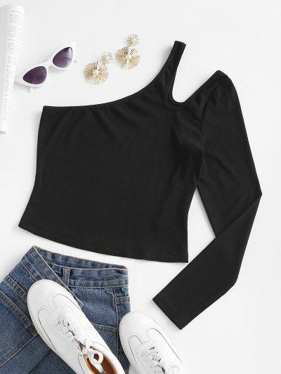 ZAFUL Cutout One Shoulder Ribbed Tee - Black M
