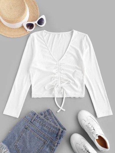 ZAFUL Lace Insert Ribbed Cinched Crop T-shirt - White Xl