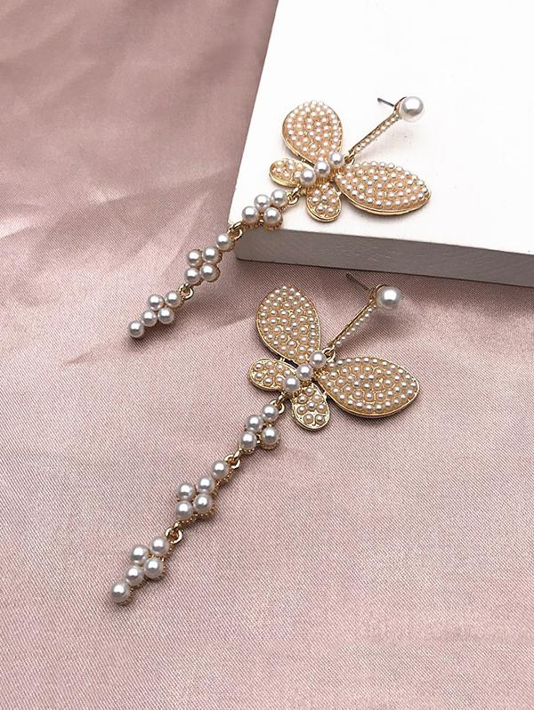 Faux Pearl Rhinestone Butterfly Earrings