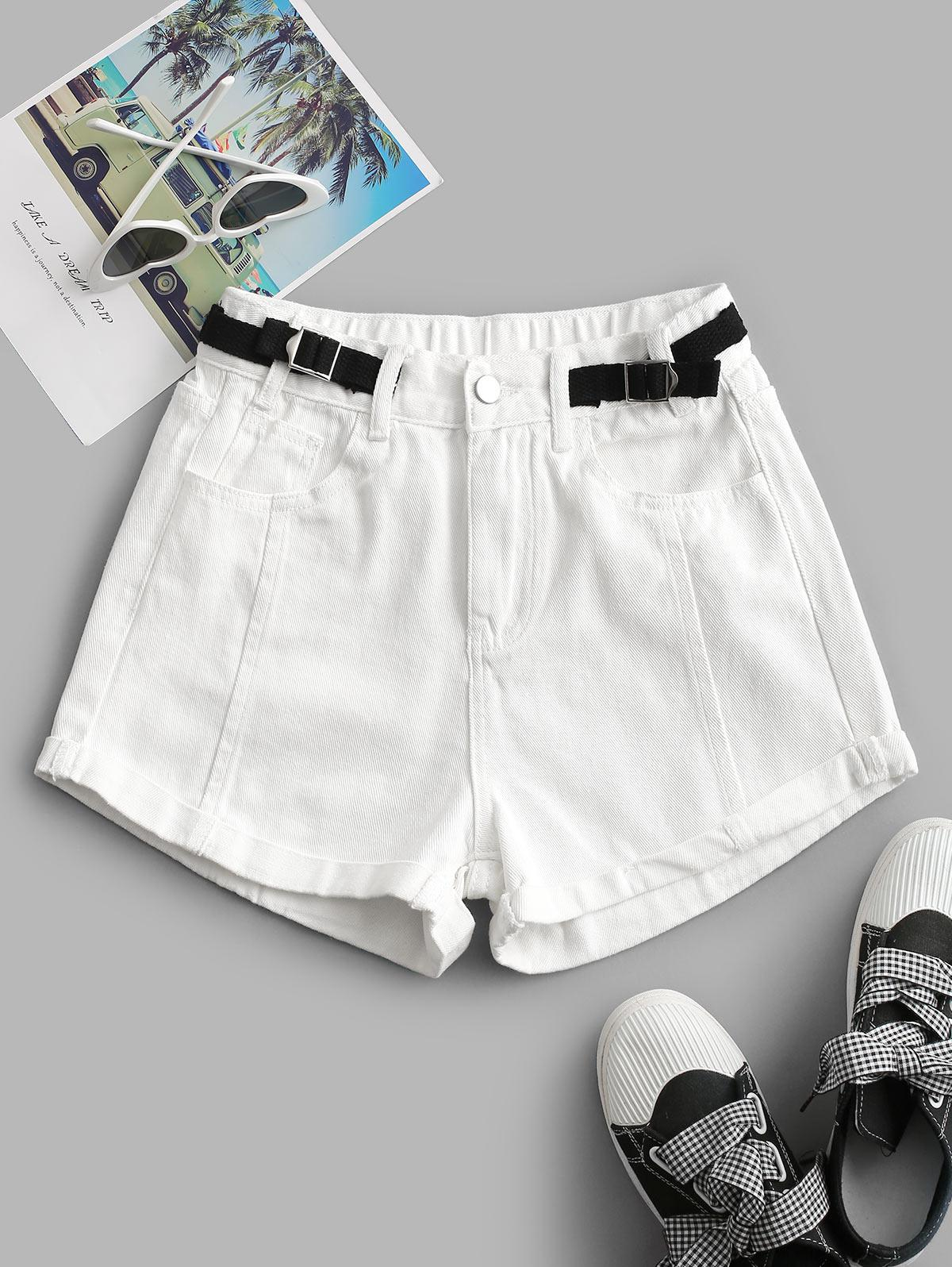 Cuffed Hem Buckled Waist Denim Shorts