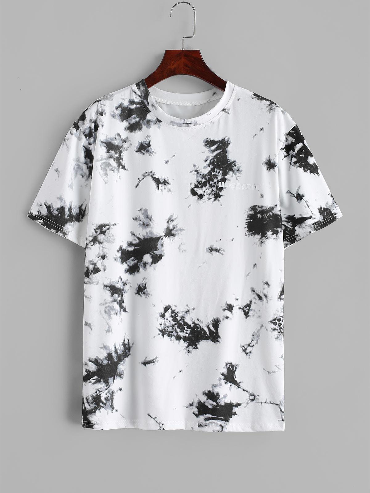 Tie Dye Letter Print Short Sleeve T-shirt