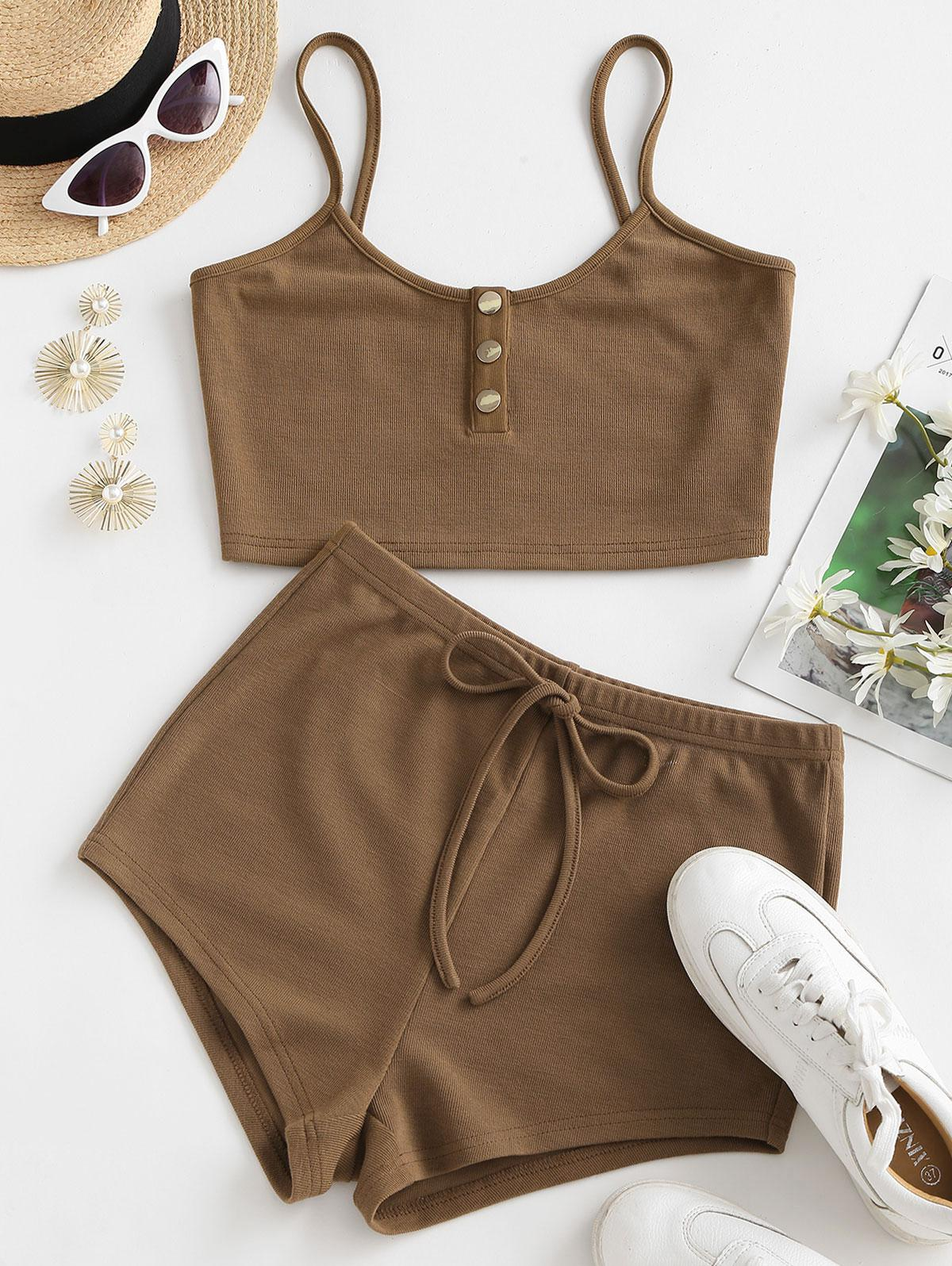 ZAFUL Henley Top and Bowknot Shorts Two Piece Set
